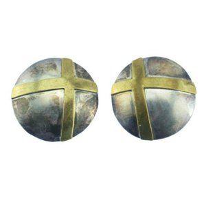 Huge Taxco Sterling Silver Circle Earrings